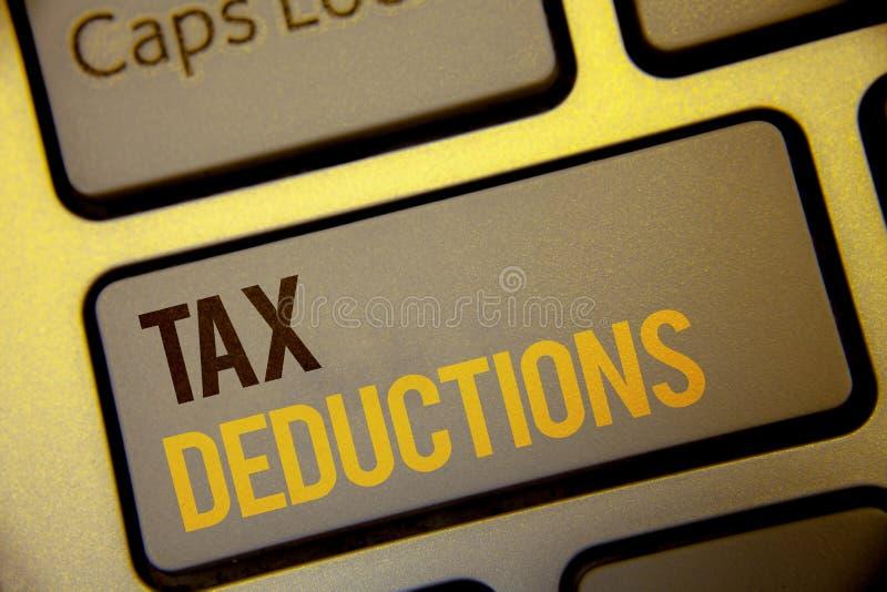 Deduções fiscais do texto da escrita A redução do significado do conceito no dinheiro das economias do investimento dos impostos  foto de stock royalty free