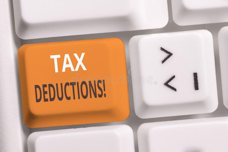 Deducciones fiscales de la escritura del texto de la escritura Concepto que significa la renta de la reducción que puede ser grav imagen de archivo libre de regalías
