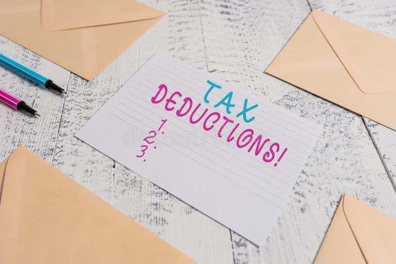 Deducciones fiscales del texto de la escritura de la palabra Concepto del negocio para la renta de la reducción que puede ser gra imagen de archivo
