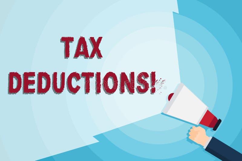 Deducciones fiscales del texto de la escritura de la palabra El concepto del negocio para la cantidad o el coste que se pueden re ilustración del vector