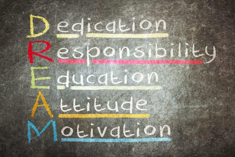 Dedykacja, odpowiedzialność, edukacja, postawa, motywacja - DR obraz royalty free