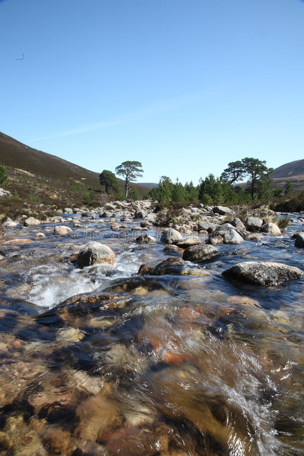 The Dee. The River Dee in the Cairngorms, Scotland royalty free stock images