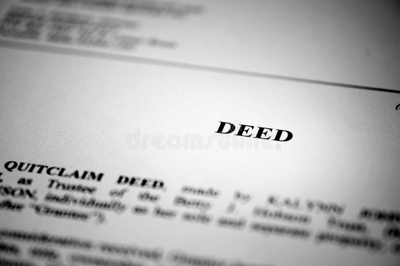 Deed for Real Estate Transfer or Transaction Contract. Paper royalty free stock images