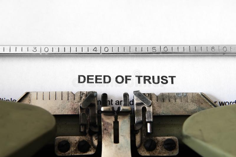 Deed of trust. CLose up of Deed of trust stock image
