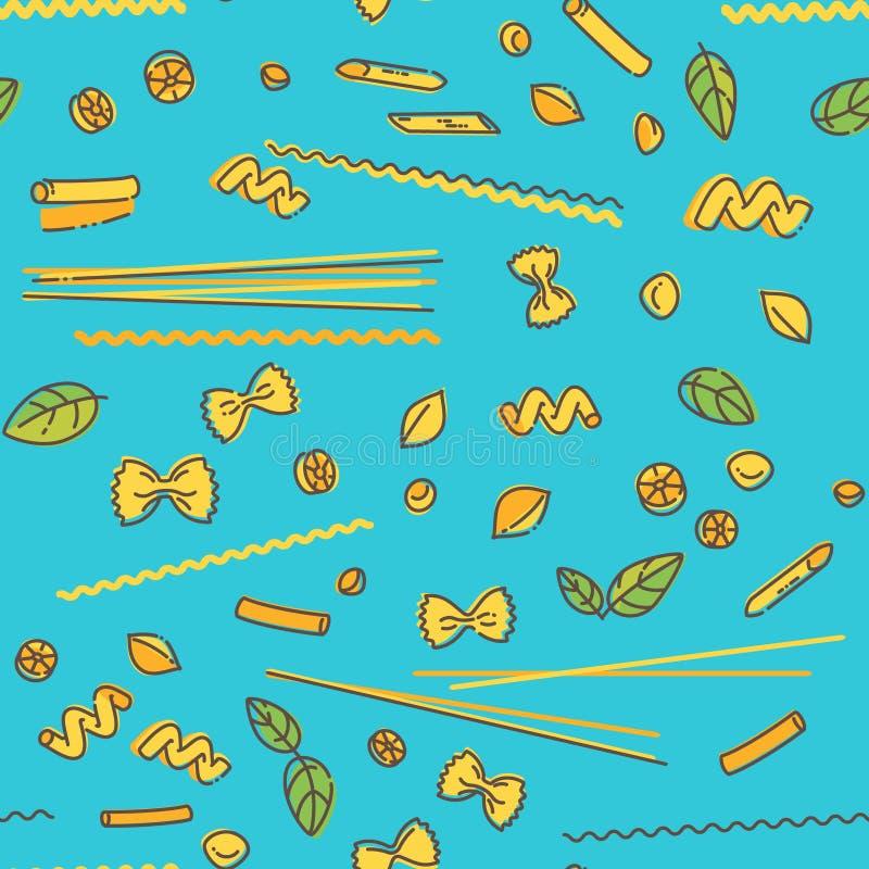 Deegwaren en basilicum naadloos patroon op blauw stock illustratie