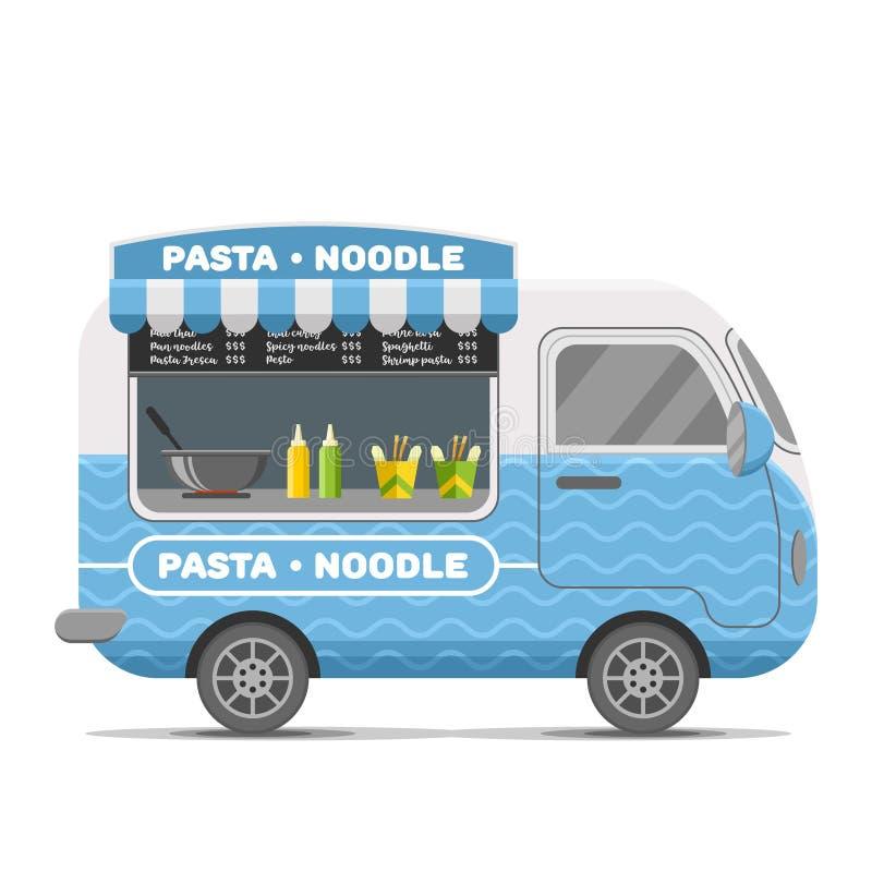 Deegwaren en noedel de caravanaanhangwagen van het straatvoedsel stock illustratie