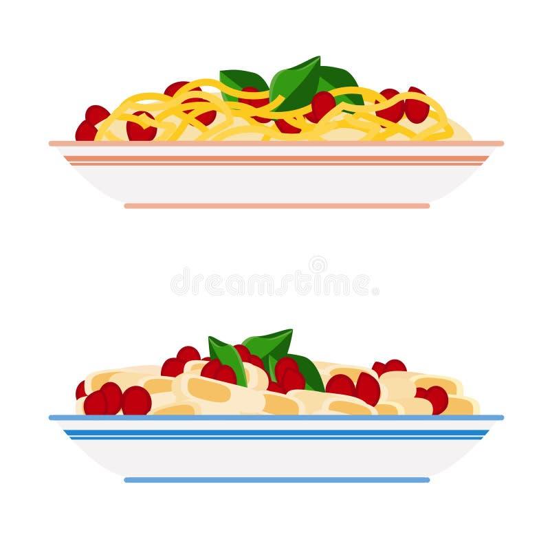 Deegwaren en spaghettiplaten stock illustratie
