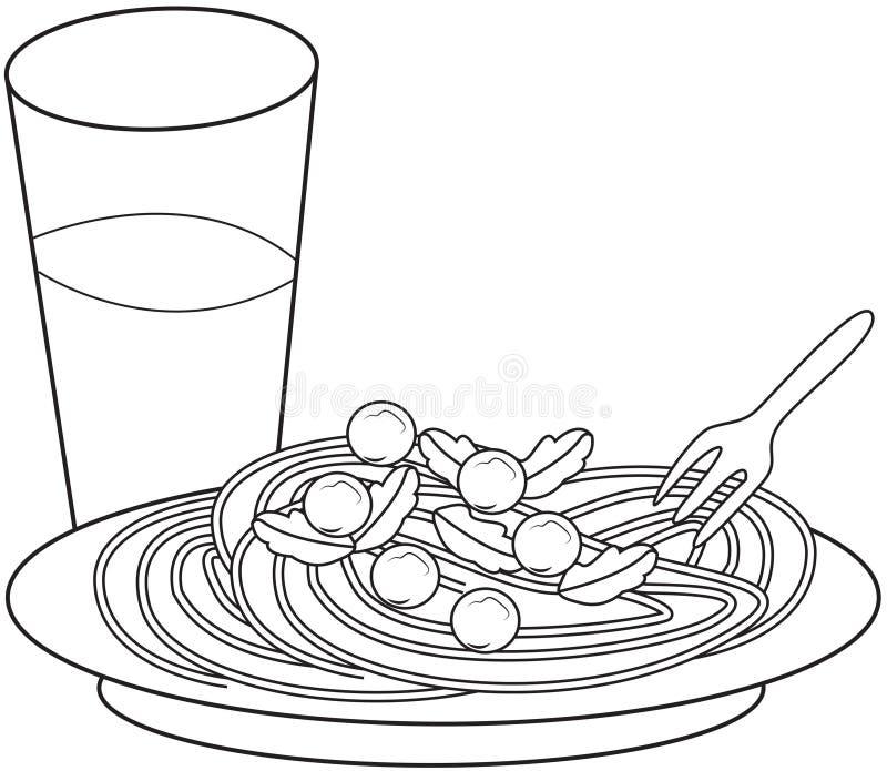 Deegwaren kleurende pagina vector illustratie