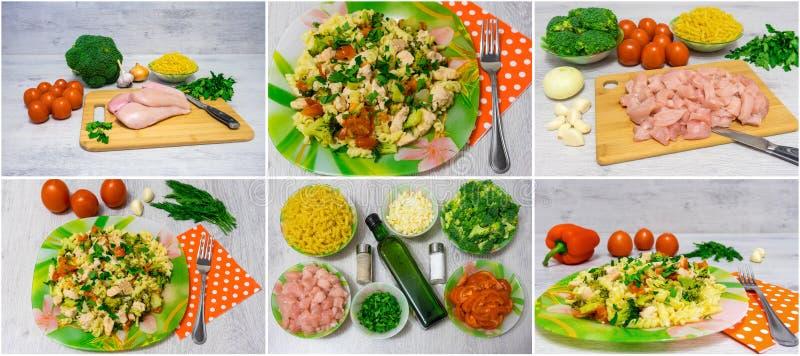 Deegwaren met kip en broccoli collage royalty-vrije stock afbeeldingen