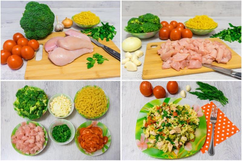Deegwaren met kip en broccoli collage stock foto's