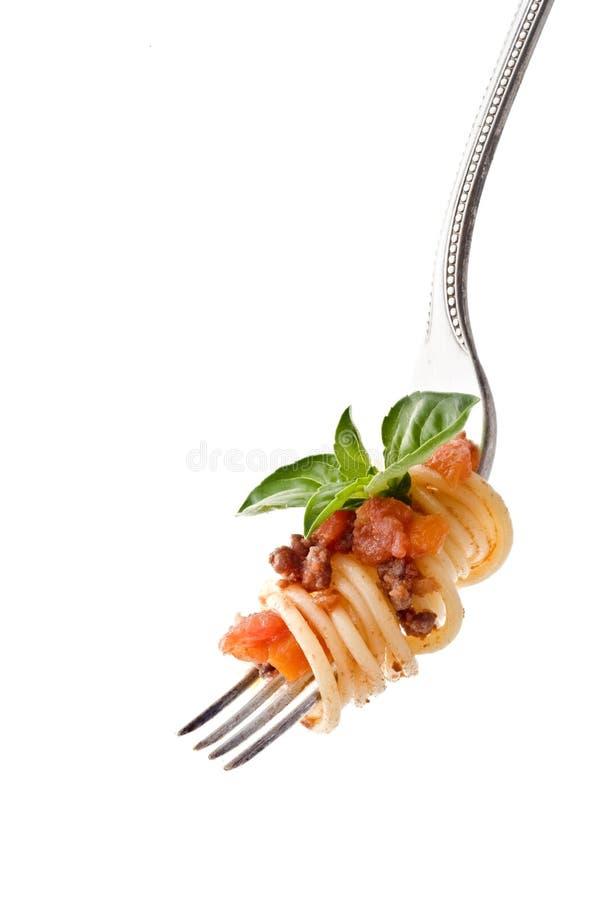 Deegwaren op vork stock foto