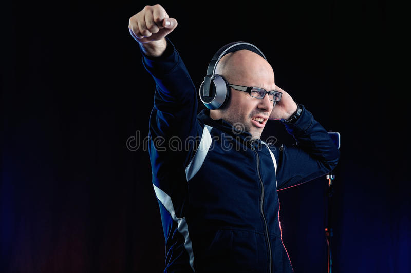 Deejay in studio royalty free stock images
