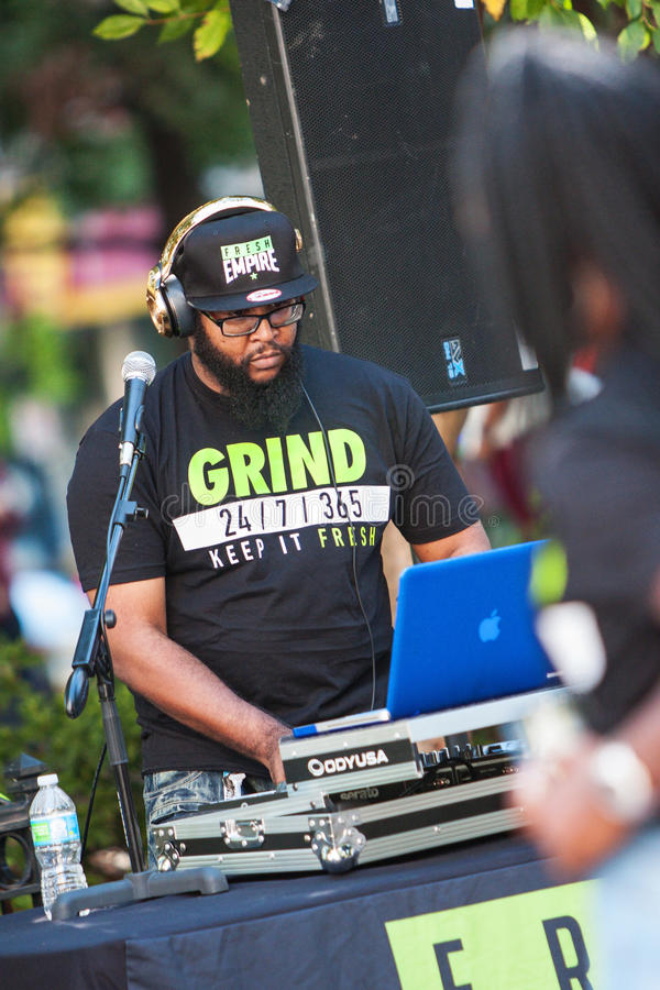 Deejay Uses Electronics To Play Music At Hip Hop Festival. Atlanta, GA, USA - October 8, 2016: A deejay uses sophisticated electronics to enhance the audio and royalty free stock photography