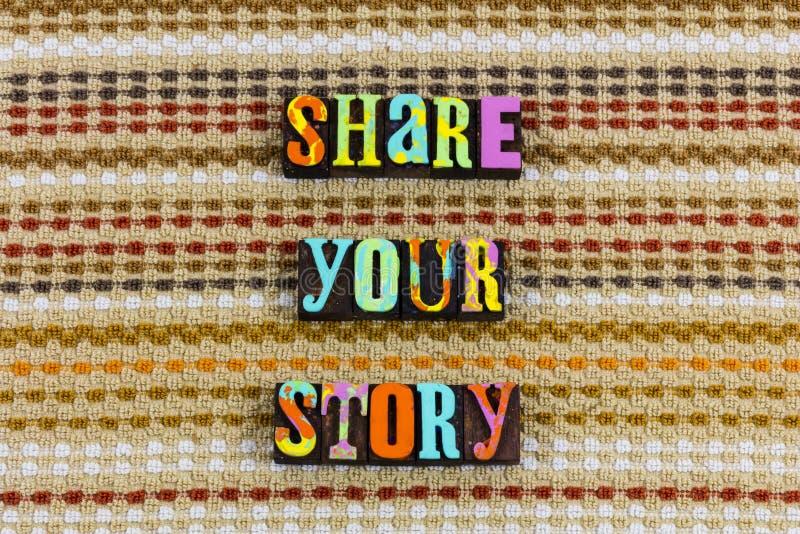 Deel uw verhaal het storytelling royalty-vrije stock afbeelding