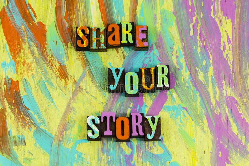 Deel vandaag uw verhaal stock afbeelding