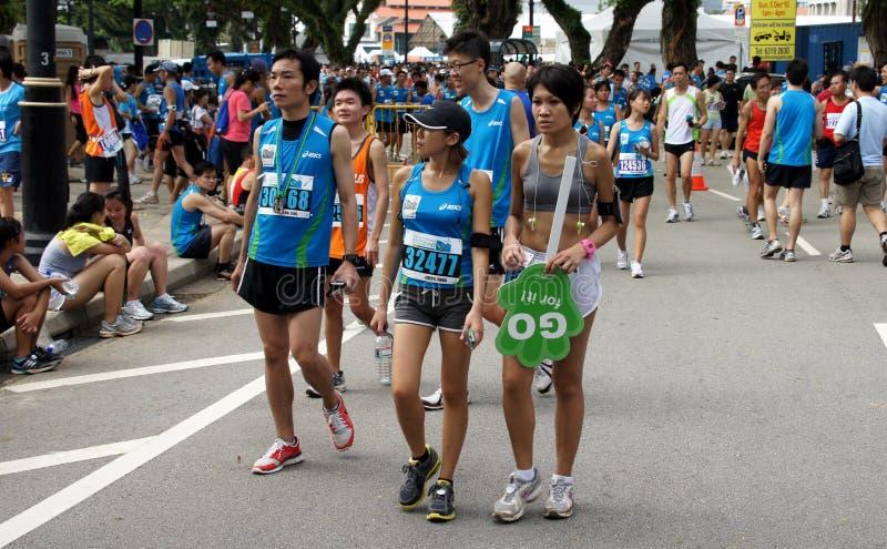 Deelnemers bij openbare marathongebeurtenis, Singapore royalty-vrije stock afbeeldingen