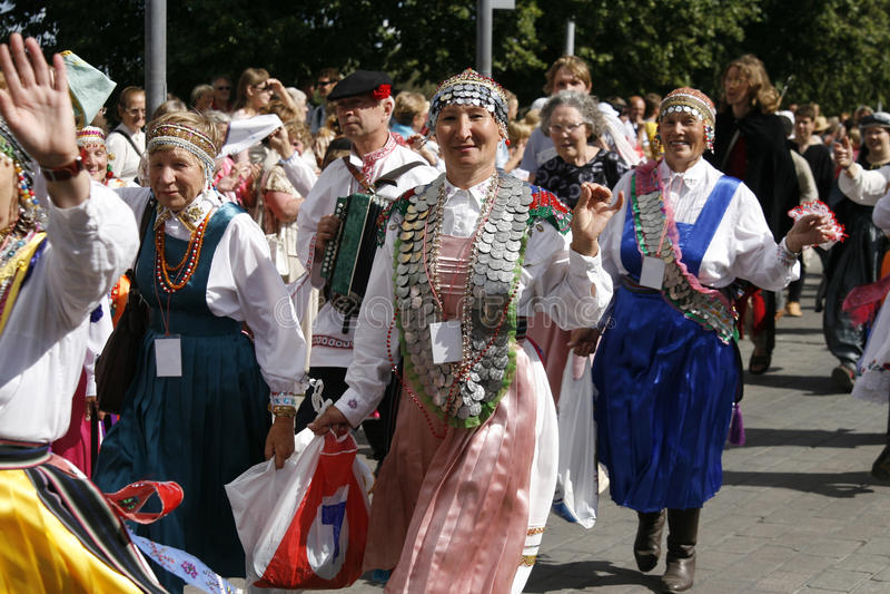Deelnemers van Hanseatic Dagen Tartu royalty-vrije stock afbeeldingen