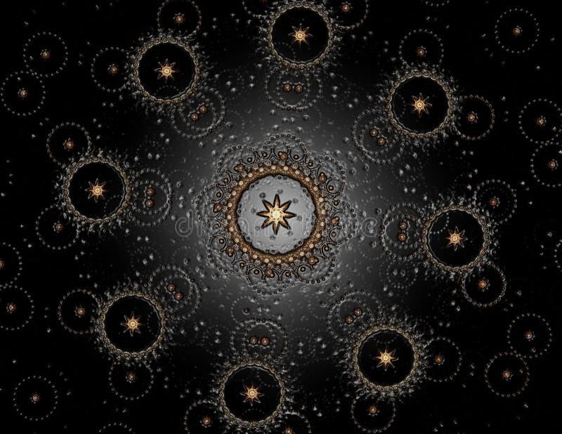 Deeltjes abstracte fractal vormen voor wat betreft kernfysicawetenschap en grafisch ontwerp Meetkunde heilige futuristisch royalty-vrije illustratie