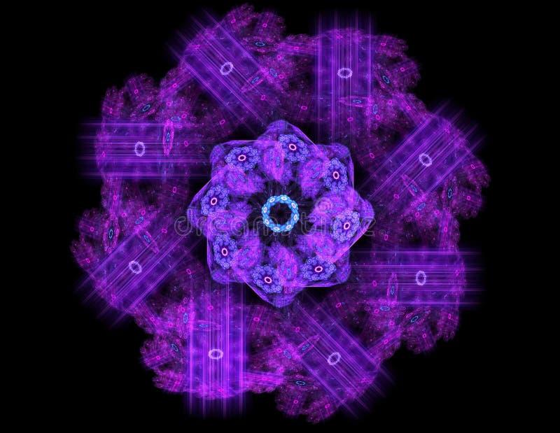 Deeltjes abstracte fractal vormen voor wat betreft kernfysicawetenschap en grafisch ontwerp Meetkunde heilige futuristische quant royalty-vrije illustratie
