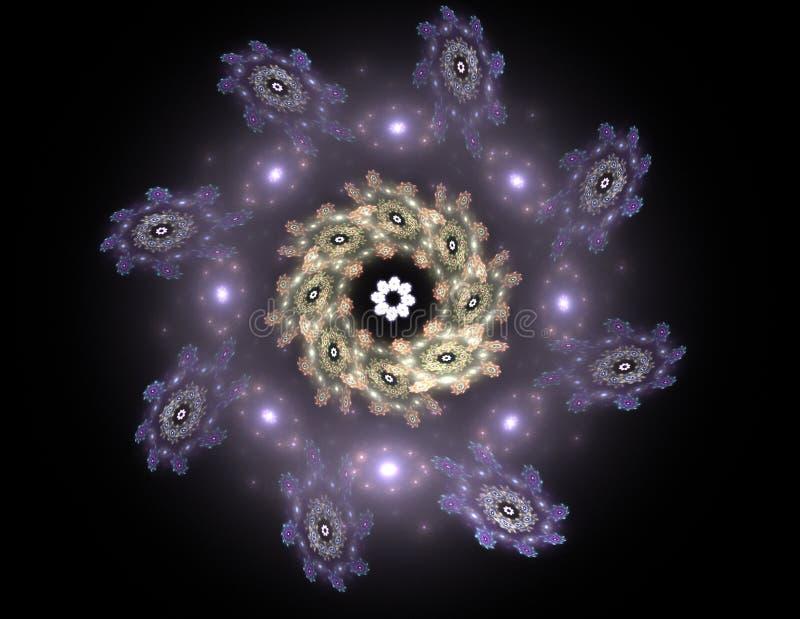 Deeltjes abstracte fractal vormen voor wat betreft kernfysicawetenschap en grafisch ontwerp Meetkunde heilige futuristische quant stock illustratie