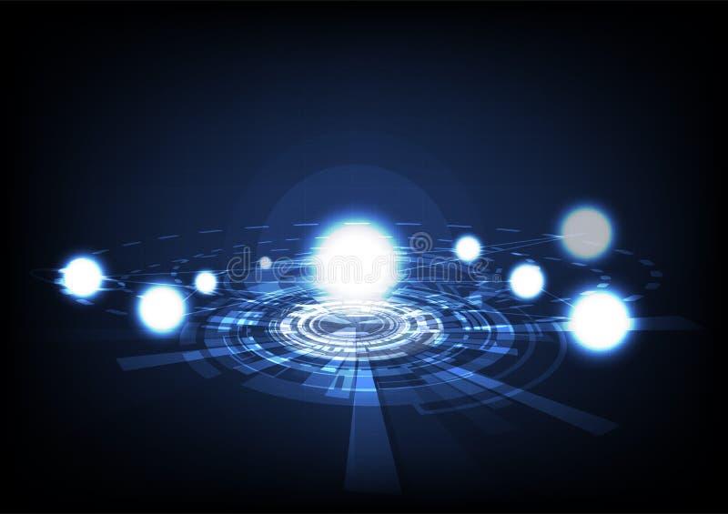 Deeltjes het gloeien, molecules en het concept van het astronomiezonnestelsel royalty-vrije illustratie
