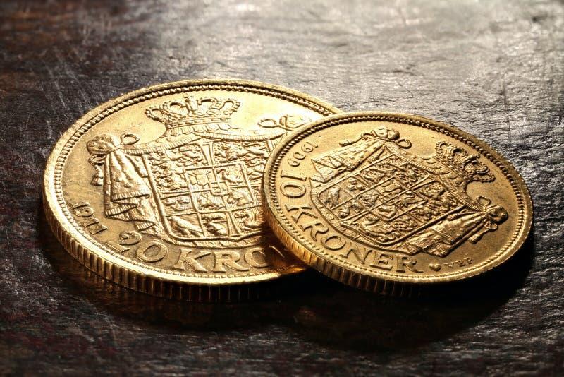 Deense gouden muntstukken royalty-vrije stock fotografie