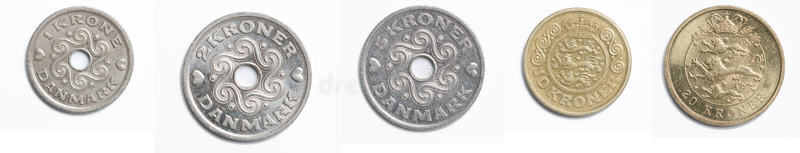 Deense muntstukken stock fotografie
