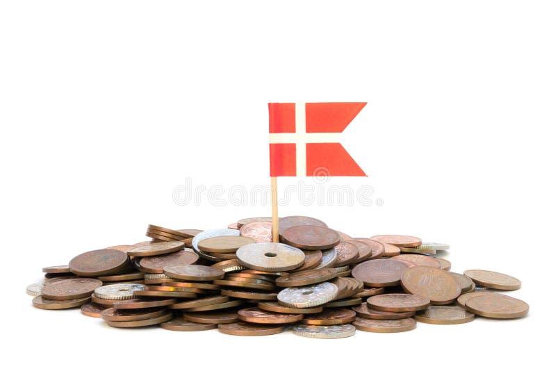 Deense muntstukken met vlag royalty-vrije stock afbeelding