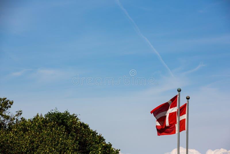 Deense vlaggen in de wind op een heldere zomerdag stock foto's