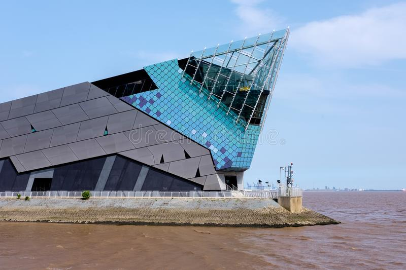 The Deep Aquarium in Hull, Yorkshire, UK. The Deep public aquarium at Sammy`s Point, on the confluence of the River Hull and the Humber Estuary. Kingston upon stock image