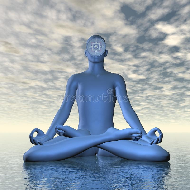 Deep blue ajna or third-eye chakra meditation - 3D render stock illustration