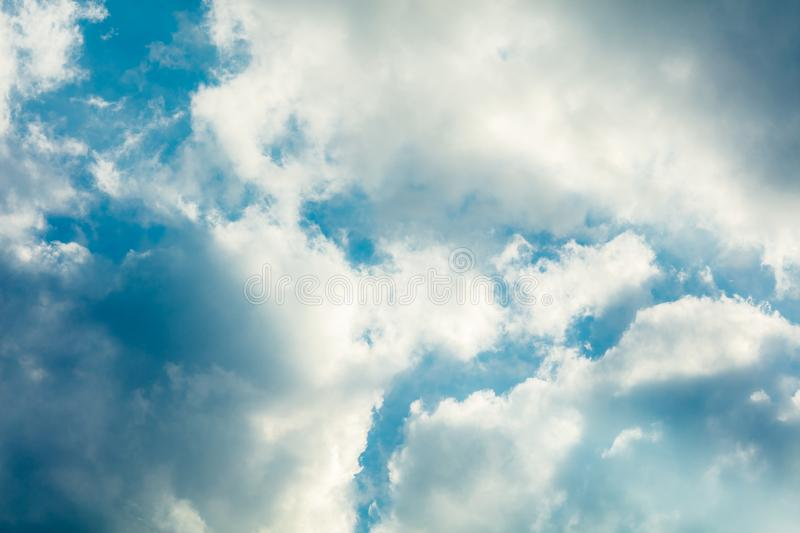 Sky with clouds. Deep blue bright sky with clouds background stock photo