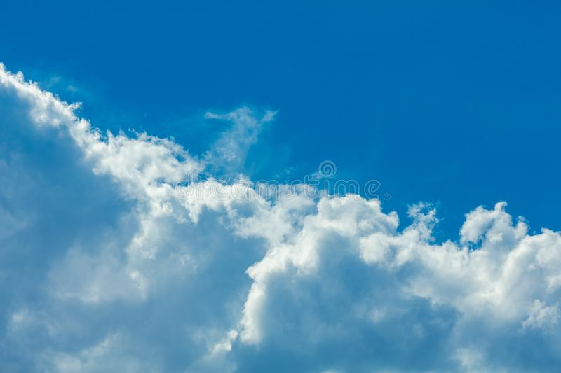 Sky with clouds. Deep blue bright sky with clouds background stock photography