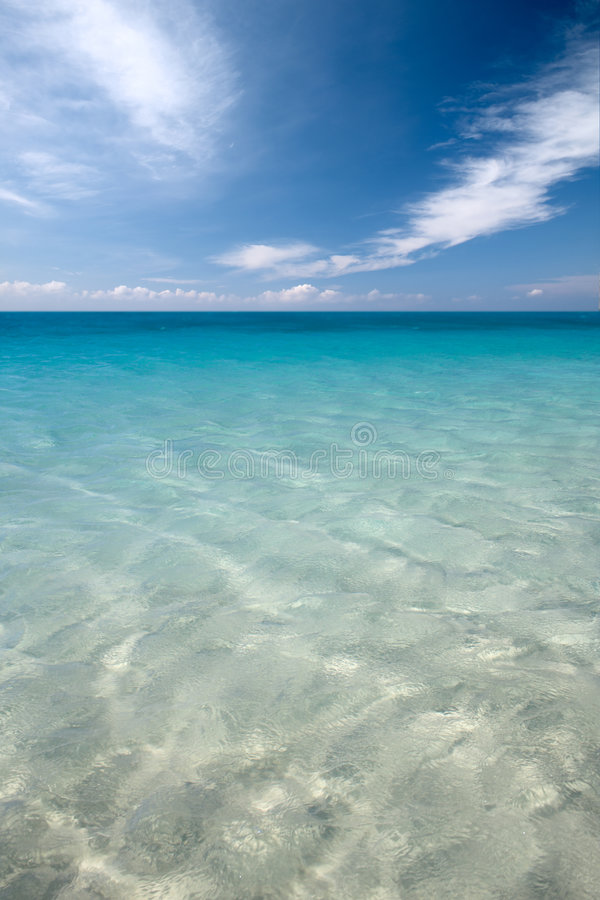 Deep blue color of water in red sea stock photography