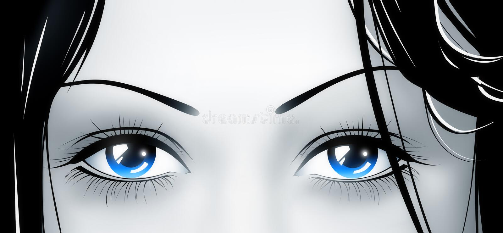 Deep blue eyes. From beautiful young girl vector illustration