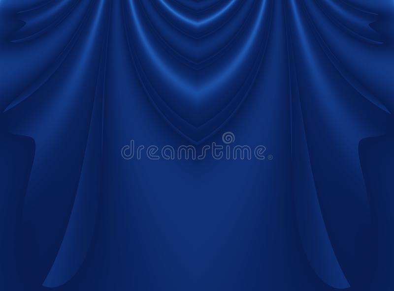 Deep blue modern abstract fractal background illustration with stylized draping or curtains. stock illustration