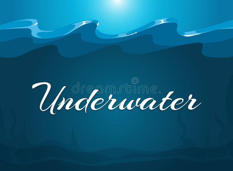 Deep blue moody underwater background. Abstract background water, vector illustration stock illustration