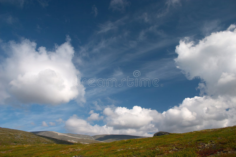 Deep blue northern sky stock photography
