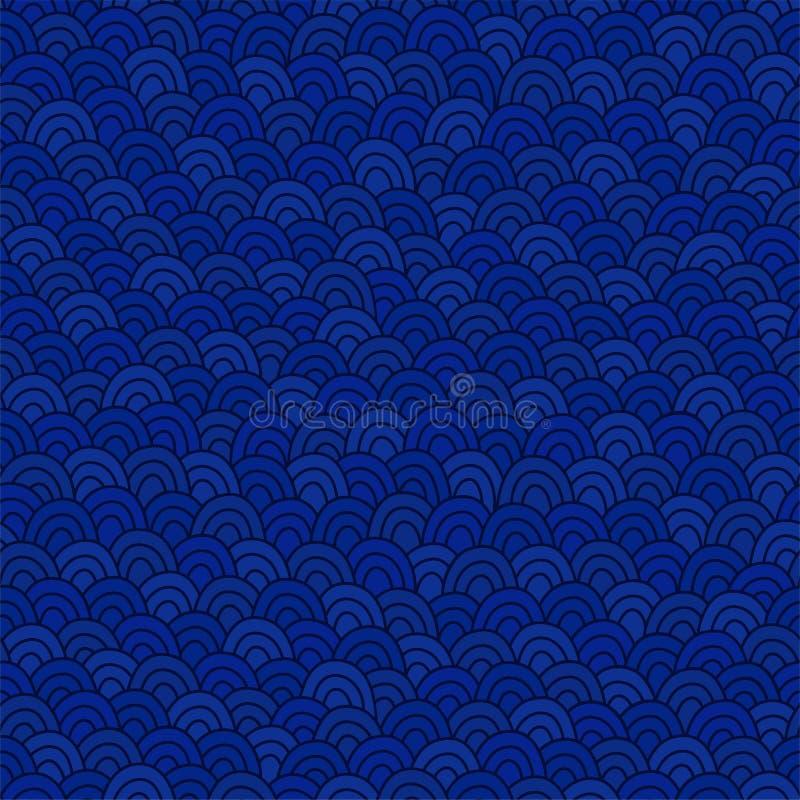Deep blue sea waves pattern. Doodle seamless background. royalty free illustration