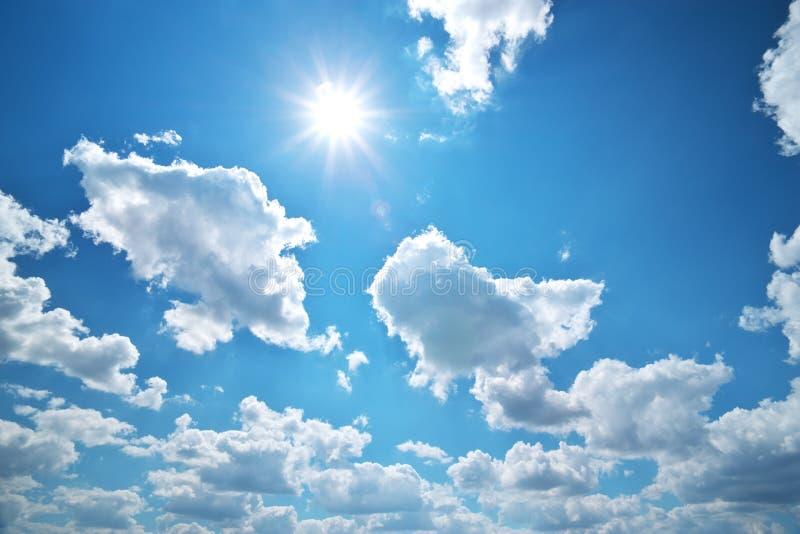 Deep blue sky and sun royalty free stock image