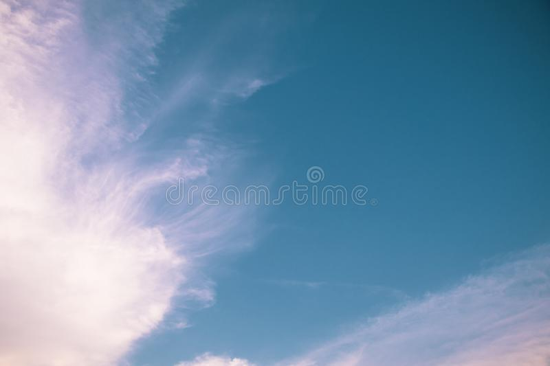 Deep blue sky and white cloud background.Beautiful sky of cirrus clouds. stock image