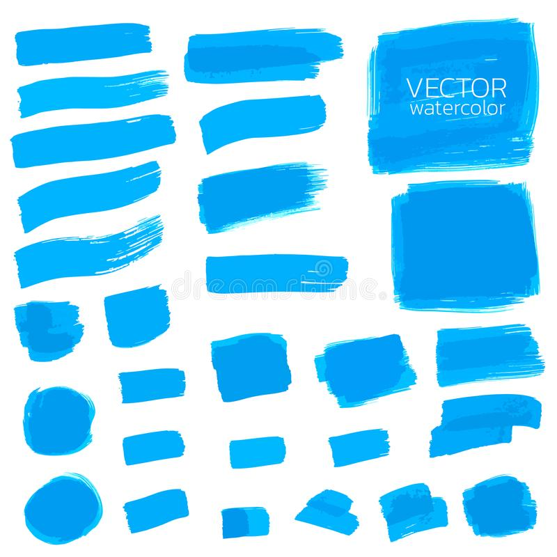Blue watercolor brush strokes.Vector brush stroke for design. Deep blue watercolor brush strokes. Vector brush stroke for design. Abstract watercolor background stock illustration