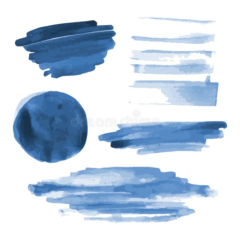 Deep blue watercolor shapes, splotches, stains, paint brush strokes. Abstract watercolor texture backgrounds set. stock illustration