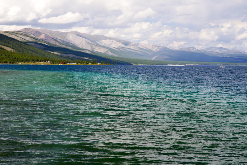 Deep Blue Waters of Khovsgol Lake stock photography