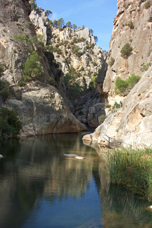 Deep Canyon River. This is El Rio De La Canaleta at a special location called La Fontcalda near Gandesa Spain where there are amazing natural pools for swimming royalty free stock photos