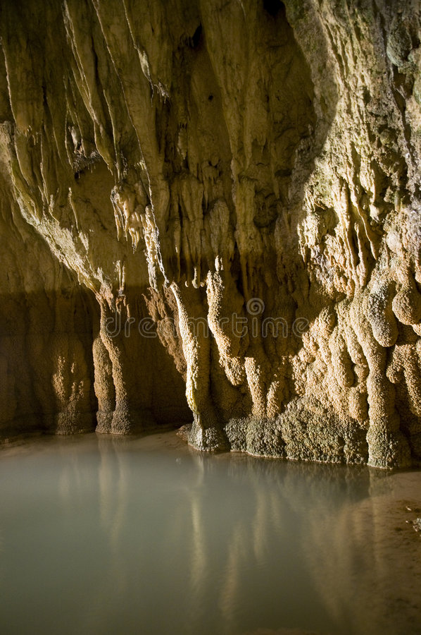 Deep cave. Geological details of a limestone cave in central Switzerland royalty free stock images
