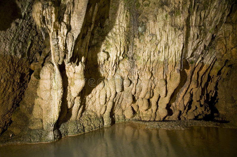 Deep cave. Geological details of a limestone cave in central Switzerland royalty free stock photo