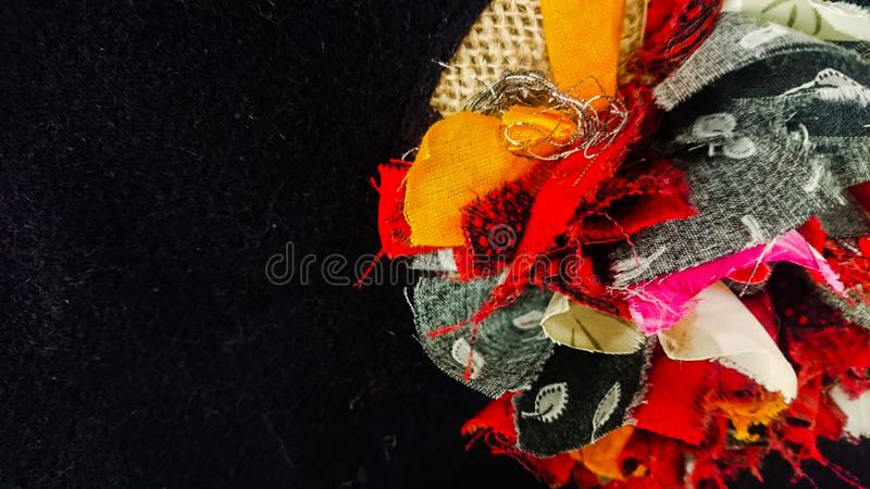 Deep Colorful Material Flowered Black Background stock images