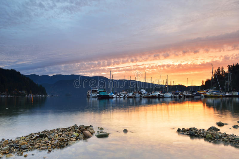 Deep Cove cloudy sunrise, North Vancouver royalty free stock photography