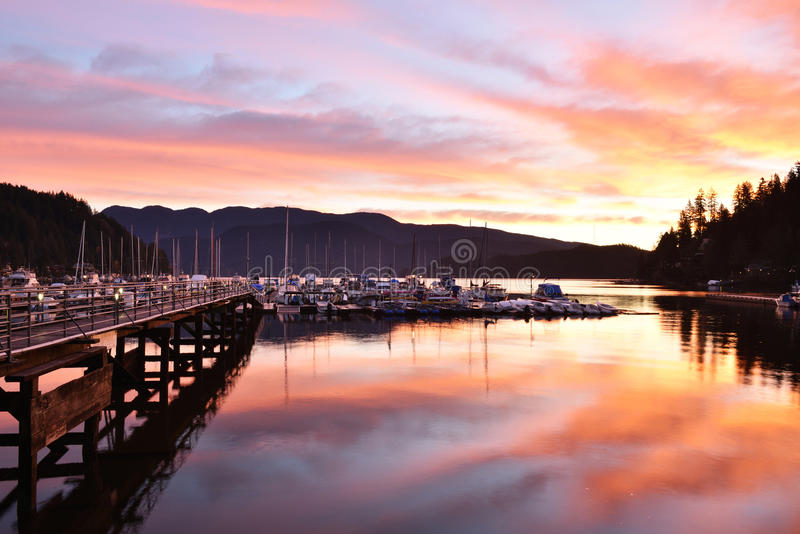 Deep Cove sunrise, North Vancouver stock image